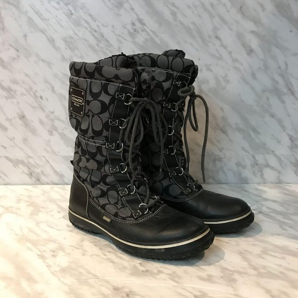 Coach Shaine Signature Snow Winter Boots Black 11